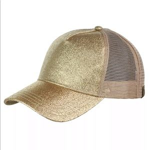 Gold high ponytail baseball hat cap messy bun